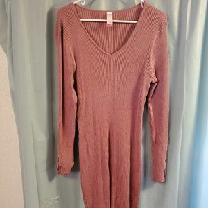 pink stretchy sweater dress